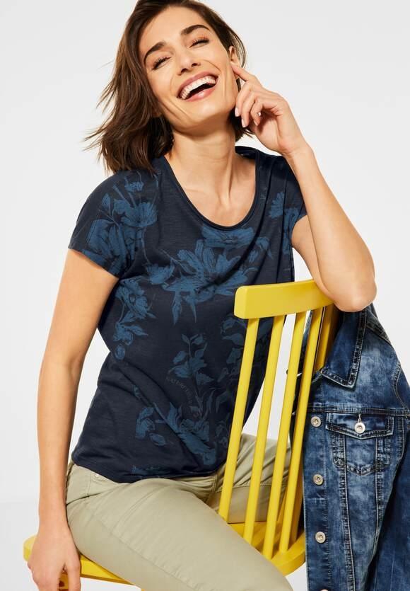 Cecil   T-Shirt mit Blumen Print   Farbe: deep blue 30128, 316242