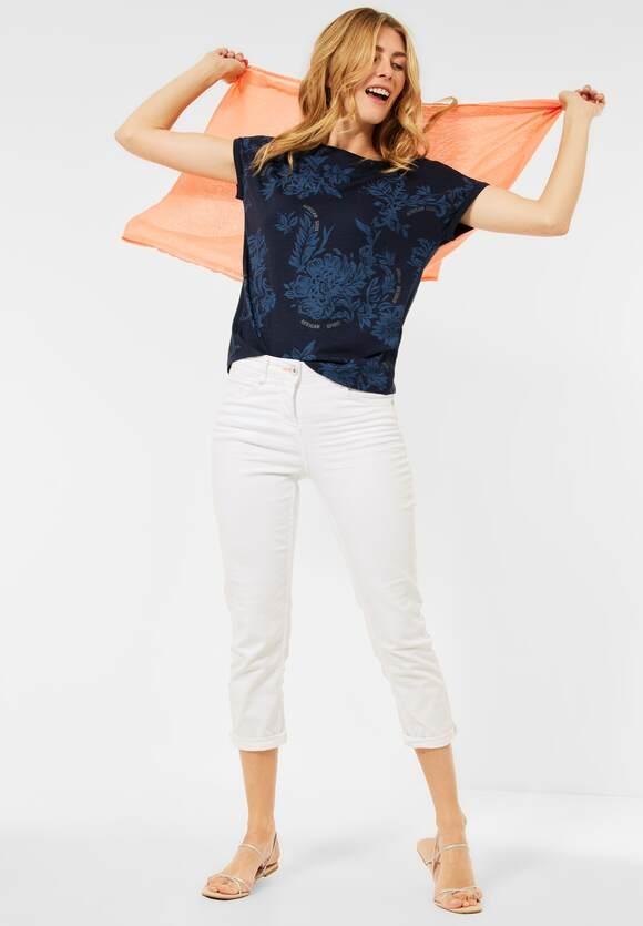 Cecil | T-Shirt mit Blumen Print | Farbe: deep blue 30128, 316633