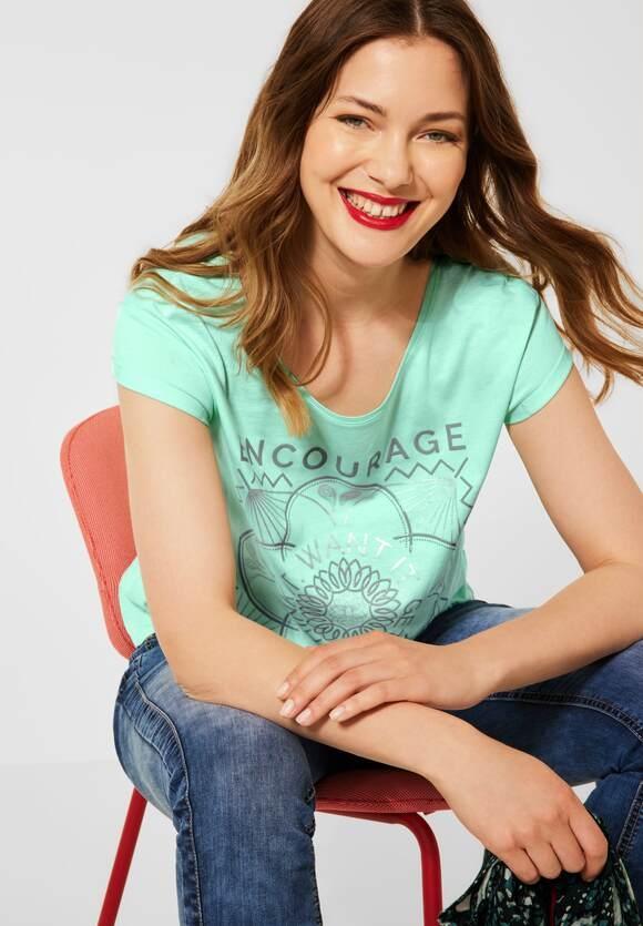 Street One   T-Shirt mit Partprint   Farbe: menthe green 33108, 316552
