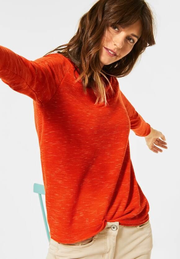Cecil | Ripp-Pullover in Melange | Farbe: funky orange heather mel 12541, 301275
