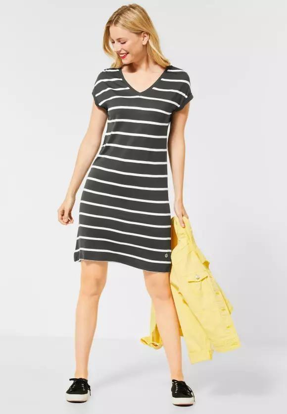 Street One | T-Shirtkleid mit Streifen | Farbe: comfort green 22283, 142681