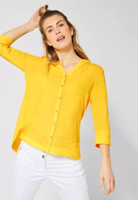 Cecil | 3/4-Arm Bluse aus Leinen | Farbe: sunny yellow 12227, 341886