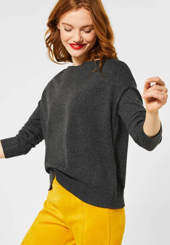 Street One | Softer U-Boot Pullover | Farbe: coaly anthracite mel 12466, 301352