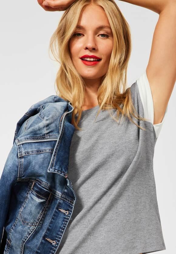 Street One | T-Shirt mit Kick Streifen | Farbe: pebble grey mel. 12970, 316629