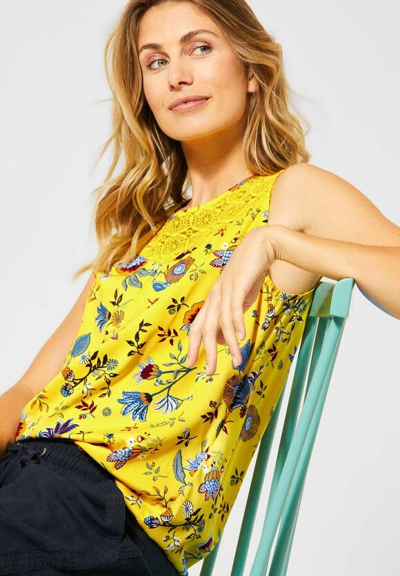 Cecil | Top mit Blumenmuster | Farbe: radiant yellow 32360, 342147