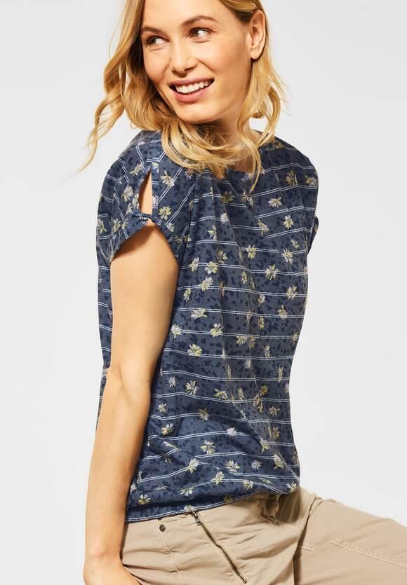 Cecil   T-Shirt mit Burn-Out Optik   Farbe: deep blue 30128, 316209