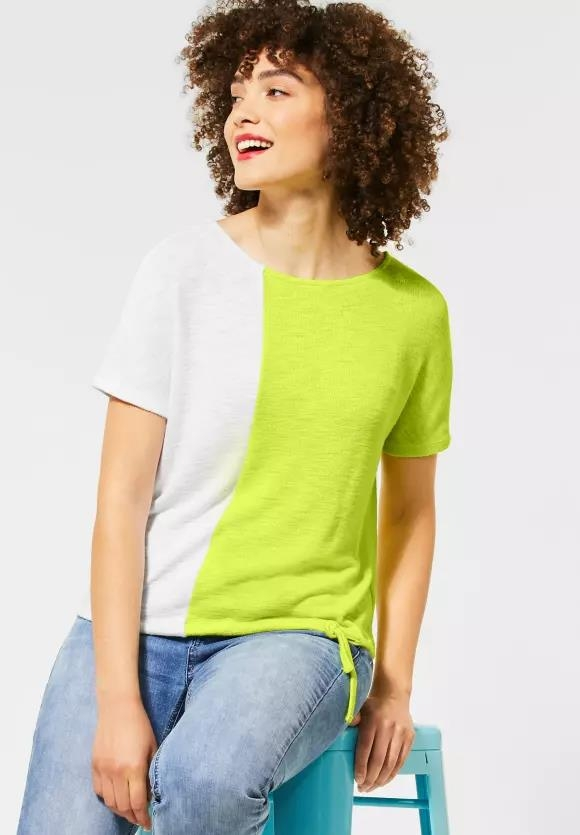 Street One | T-Shirt mit Colourblock | Farbe: laser lime 22368, 315087