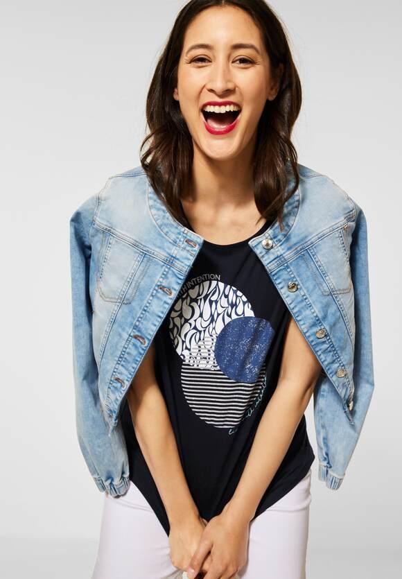Street One | T-Shirt mit Partprint | Farbe: dark foggy blue 33107, 316513