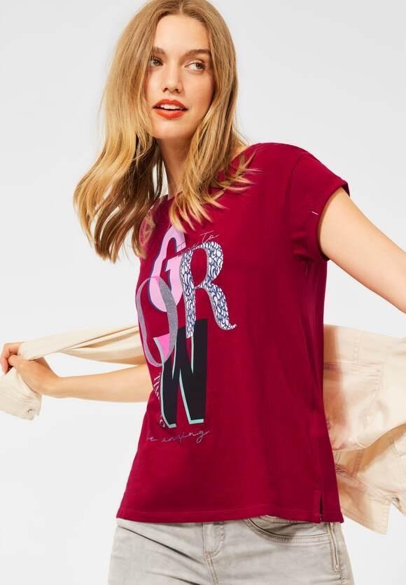 Street One | T-Shirt mit Partprint | Farbe: gentle red 33052, 316514
