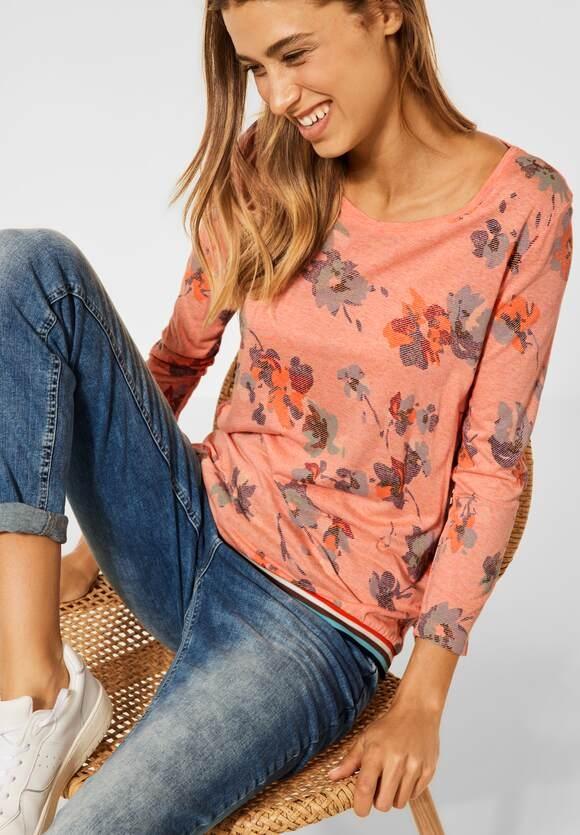 CECIL   T-Shirt in Melange Optik   Farbe: orange melange 33089, 316943