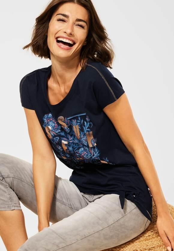 Cecil | T-Shirt mit Schleifen Detail | Farbe: deep blue 30128, 316634