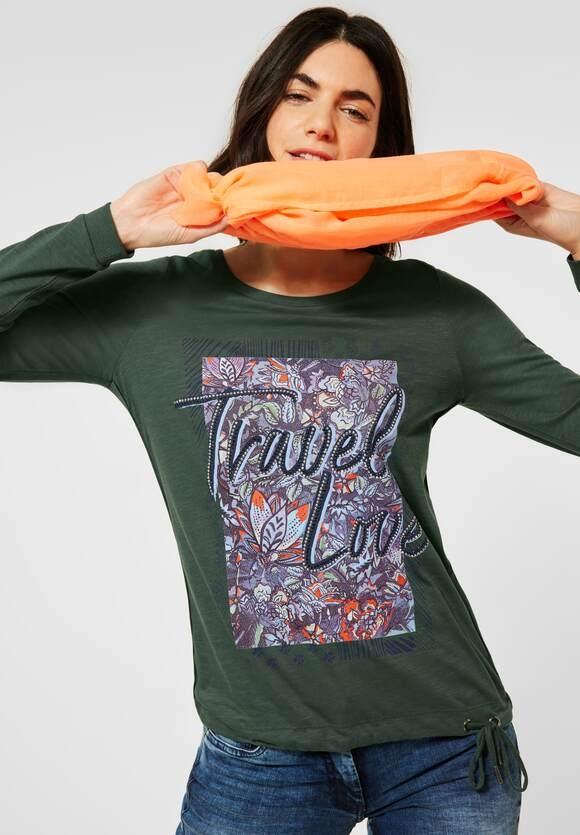 Cecil | Shirt mit Frontprint | Farbe: soft khaki 32646, 315780