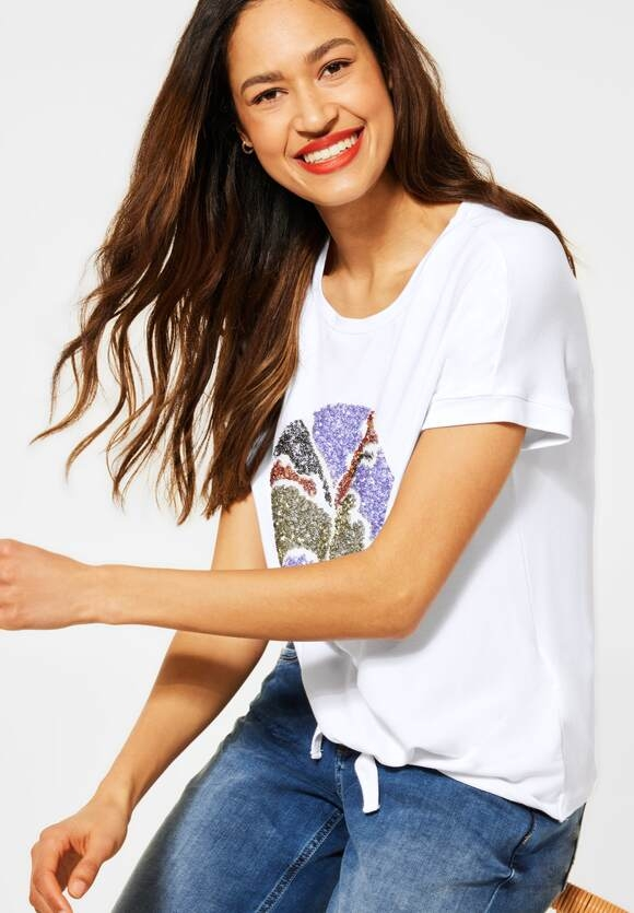 Street One | T-Shirt mit Schleifen Detail | Farbe: white 30000, 316089