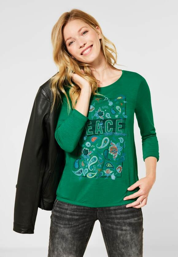 Cecil | Shirt mit Paisley-Partprint | Farbe: lucky clover green 32097, 315477