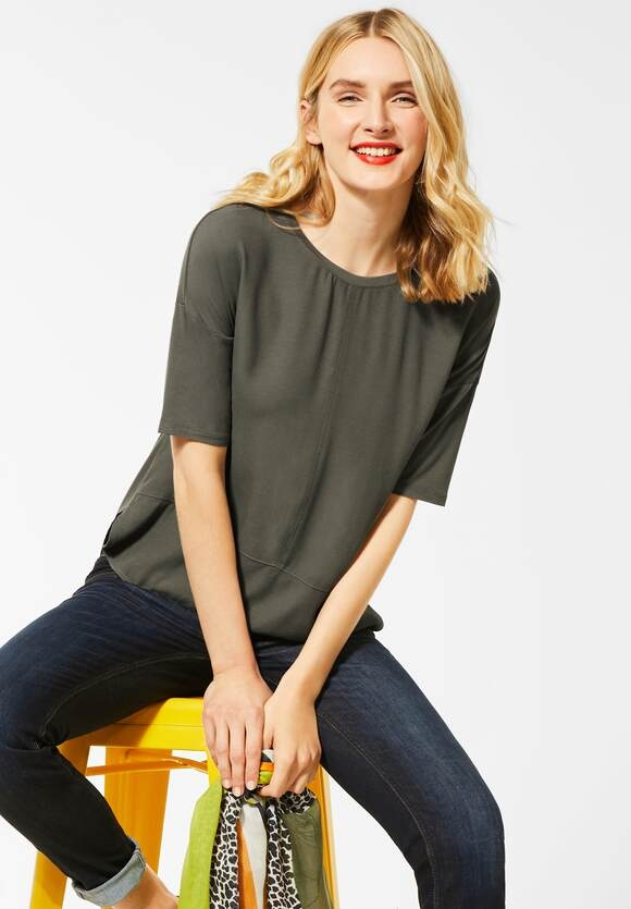 Street One | Shirt mit Materialmix | Farbe: shady olive 12440, 315263