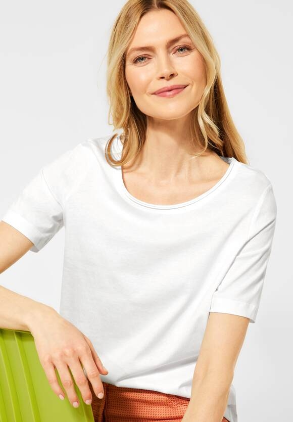 Cecil | Basic T-Shirt in Unifarbe | Farbe: pure off white 10125, 316214