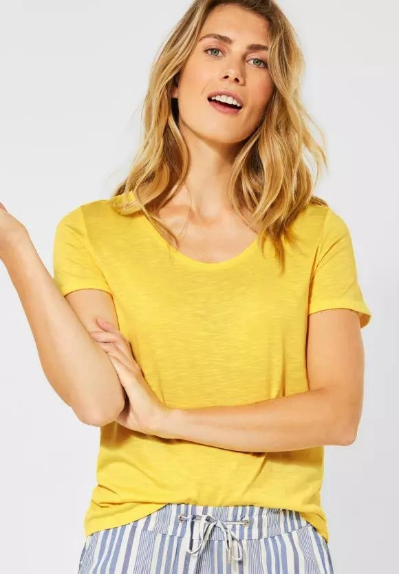 Cecil | Basic T-Shirt in Unifarbe | Farbe: radiant yellow 12360, 315132