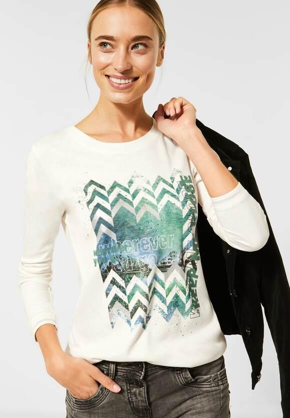 Cecil | Shirt mit Frontprint | light alabaster white 32259, 315646