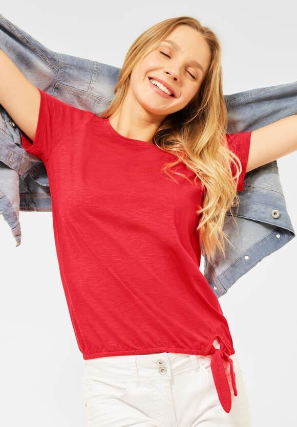 Cecil   T-Shirt mit Knoten Detail   Farbe: poppy red 12973, 316481