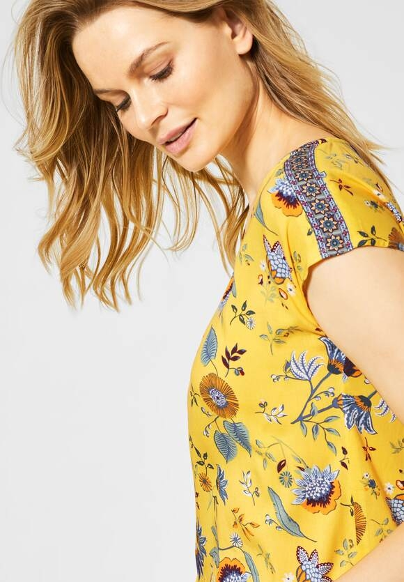 Cecil | Shirtbluse mit Blättermuster | Farbe: radiant yellow 32360, 342148
