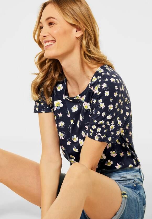 Cecil | T-Shirt mit Blumen Muster | Farbe: deep blue 30128, 316253