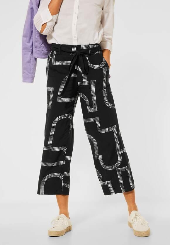 "Street One | Loose Fit Hose ""Emee"" mit Print | Farbe: black 20001, 374150"