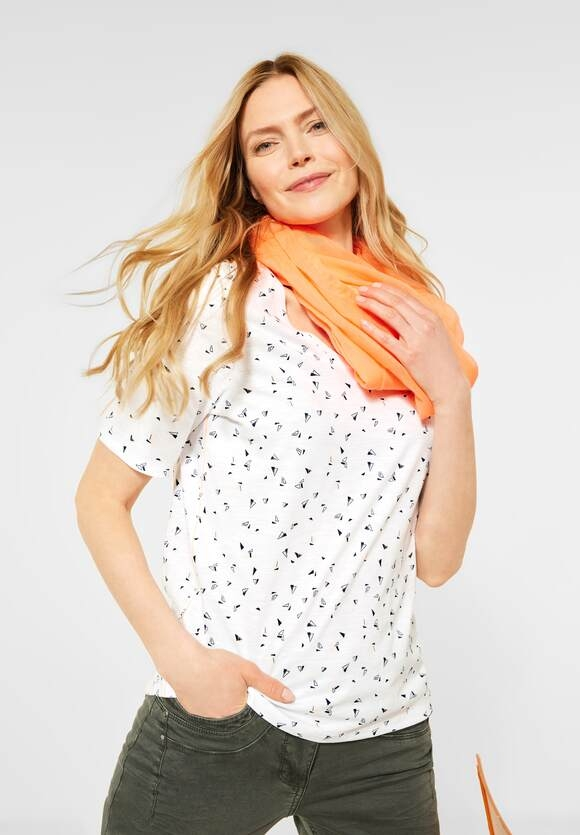 Cecil | T-Shirt mit Minimal-Muster | Farbe: pure off white 30125, 316054