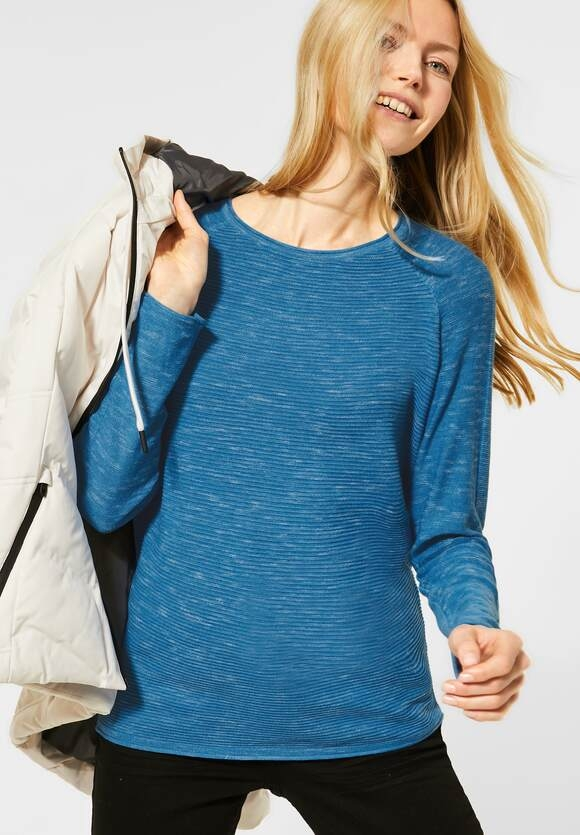 Cecil | Ripp-Pullover in Melange | Farbe: bright blue heather mel 12698, 301275