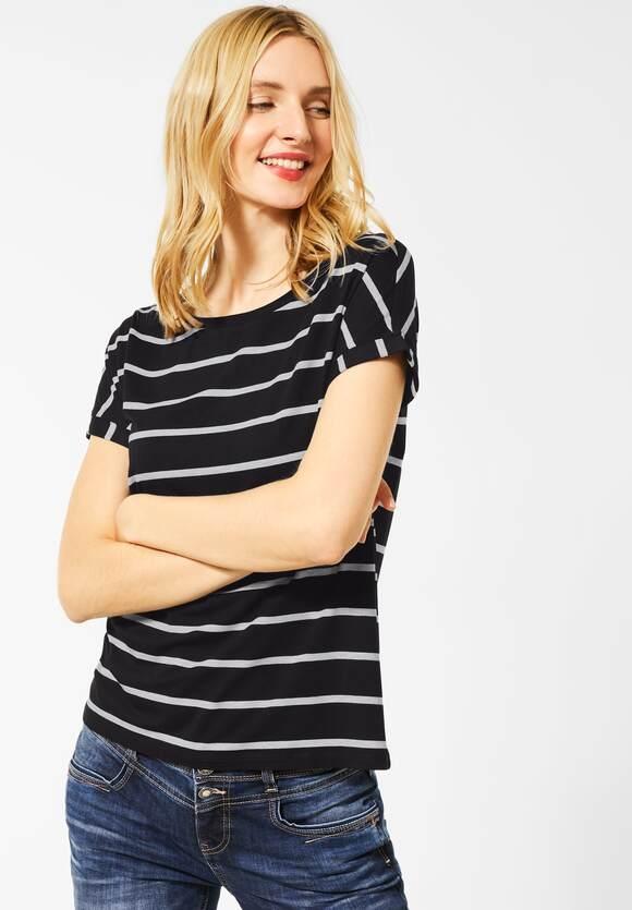 Street One | T-Shirt mit Streifenmuster | Farbe: black 20001, 315425