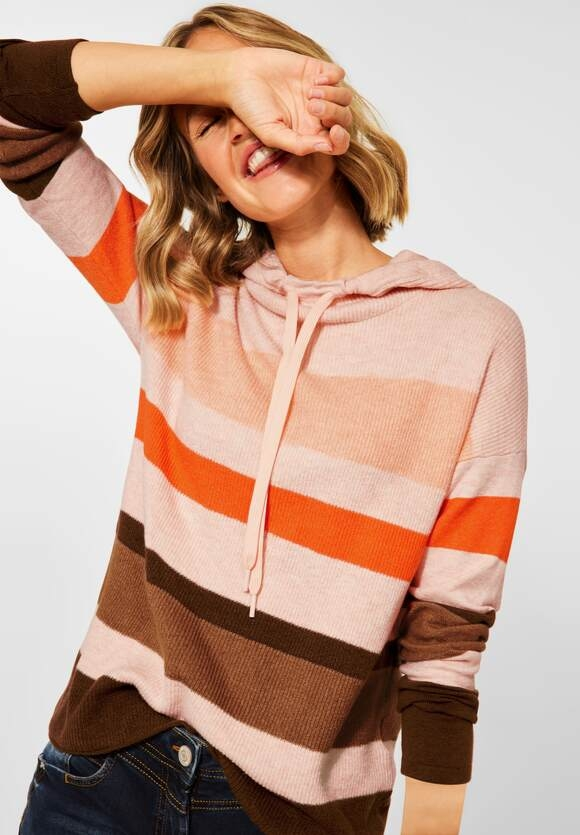 CECIL   Colorblock Hoodie Pullover   Farbe: highland rose melange 33354, 301580