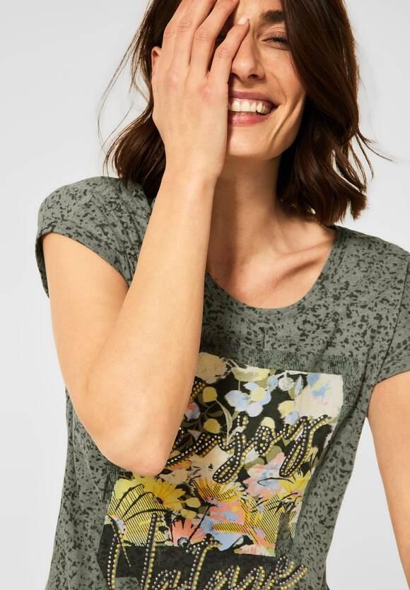 Cecil | T-Shirt mit Print | Farbe: utility olive 33036, 316227