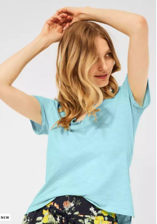 Cecil   Basic Shirt mit Flammgarn   Farbe: light sea mint green 13055, 316175