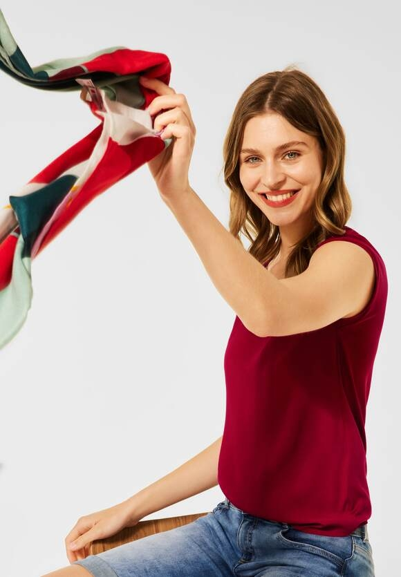 Street One | T-Shirt im Materialmix | Farbe: gentle red 13052, 316378