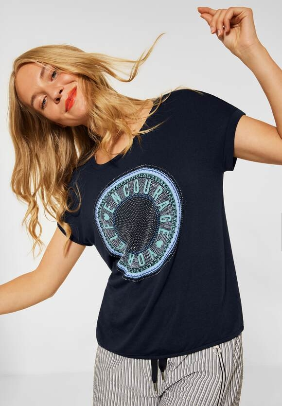 Street One | T-Shirt mit Steinchen Deko | Farbe: dark foggy blue 33107, 316520
