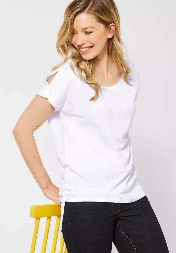 Cecil | T-Shirt mit Cold Shoulder | Farbe: white 10000, 314970