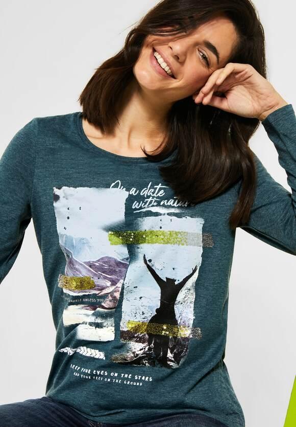 Cecil | Shirt mit Frontprint | Farbe: atlantic green melange 32659, 315668