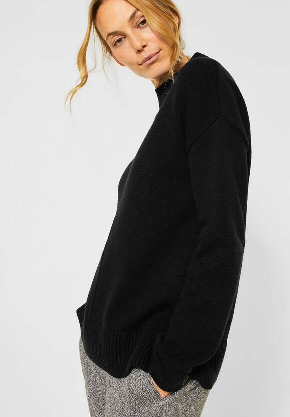 Cecil   Strick-Pullover in Unifarbe   Farbe: black 10001, 301419