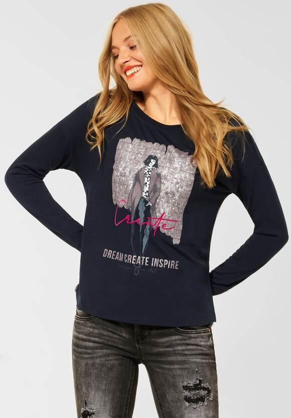 Street One | Shirt mit Partprint | Farbe: dark vintage blue 33325, 316908