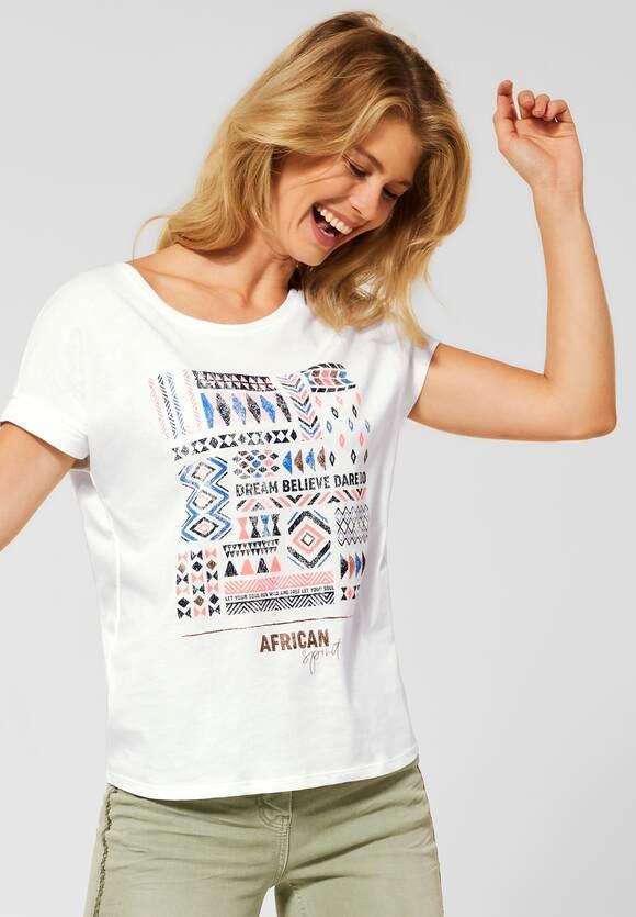 Cecil | T-Shirt mit Ethno-Print | Farbe: pure off white 30125, 316611