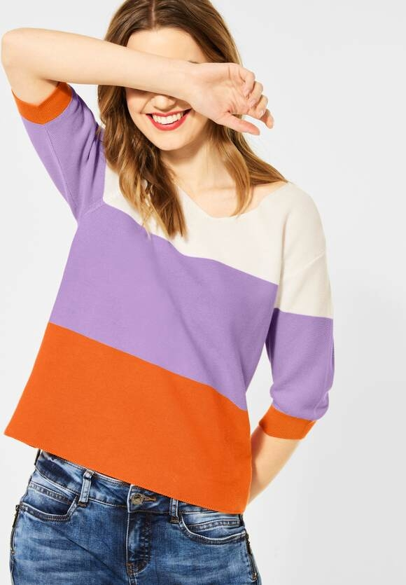 Street One | Pullover mit Colourblock | Farbe: shiny tangerine 32905, 301530