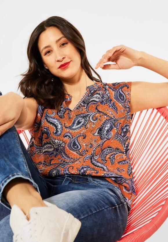 Street One | Lässige Bluse mit Print | Farbe: shiny tangerine 32905, 342542