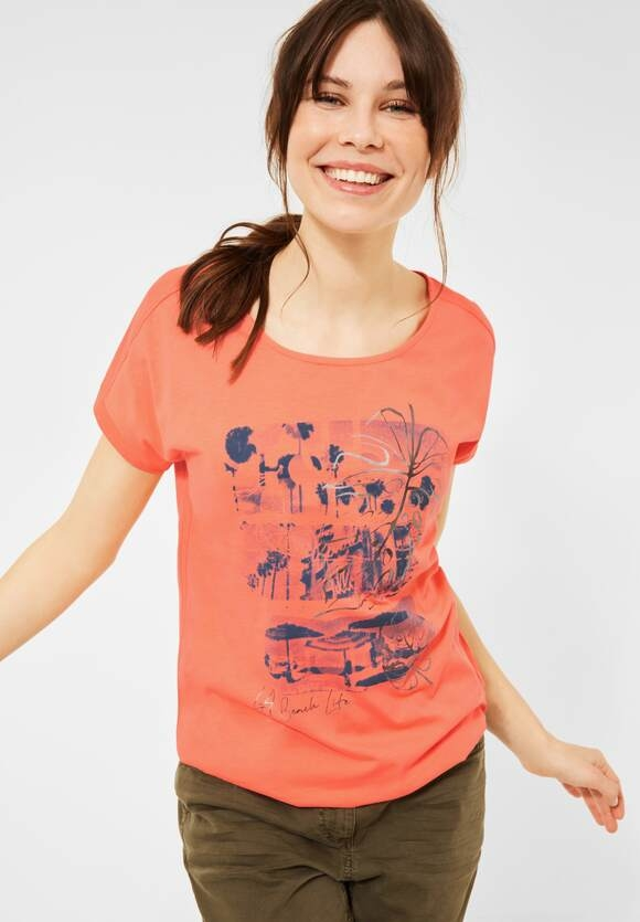 Cecil   T-Shirt mit Print   Farbe: fresh coral 33038, 316365