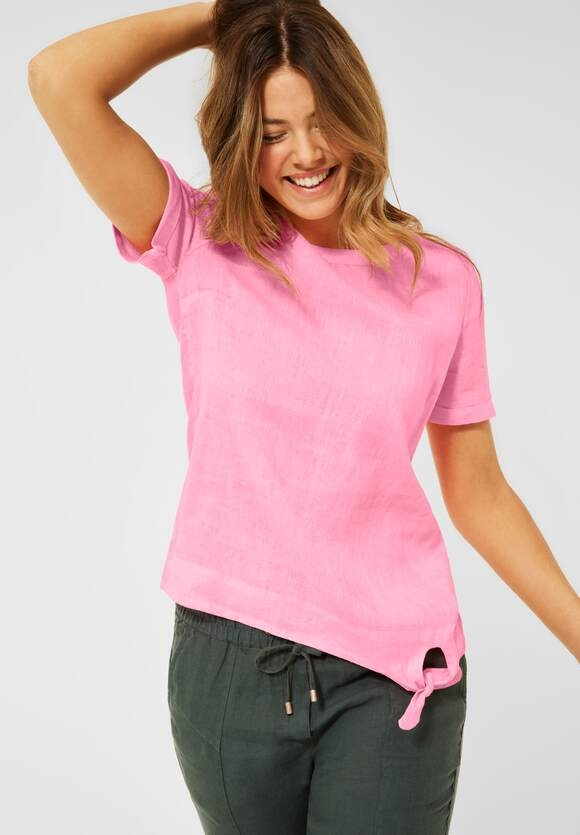 Cecil | Leinen Bluse in Unifarbe | Farbe: soft neon pink 12735, 342458