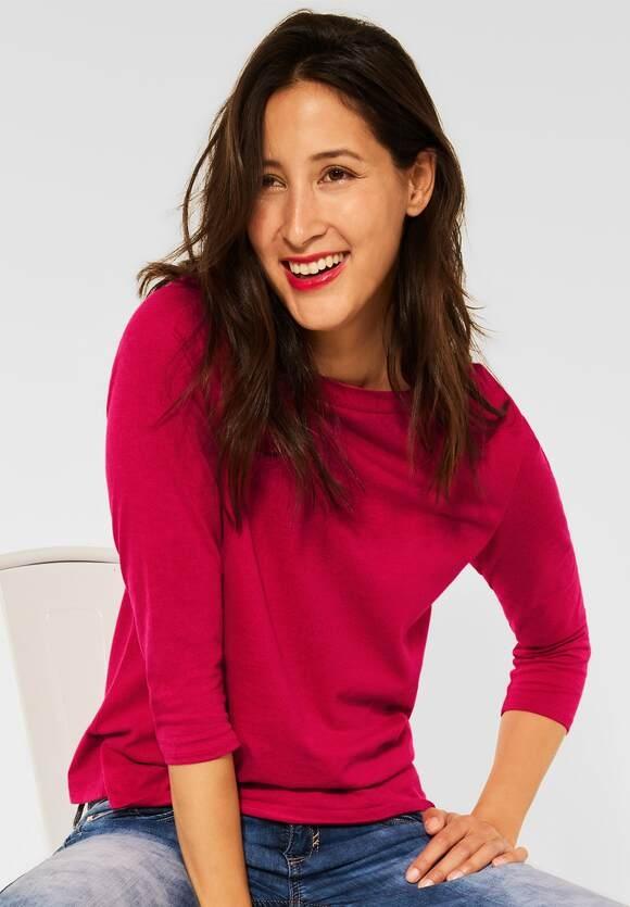 Street One   Shirt mit U-Boot Ausschnitt   Farbe: full red melange 13380, 316884