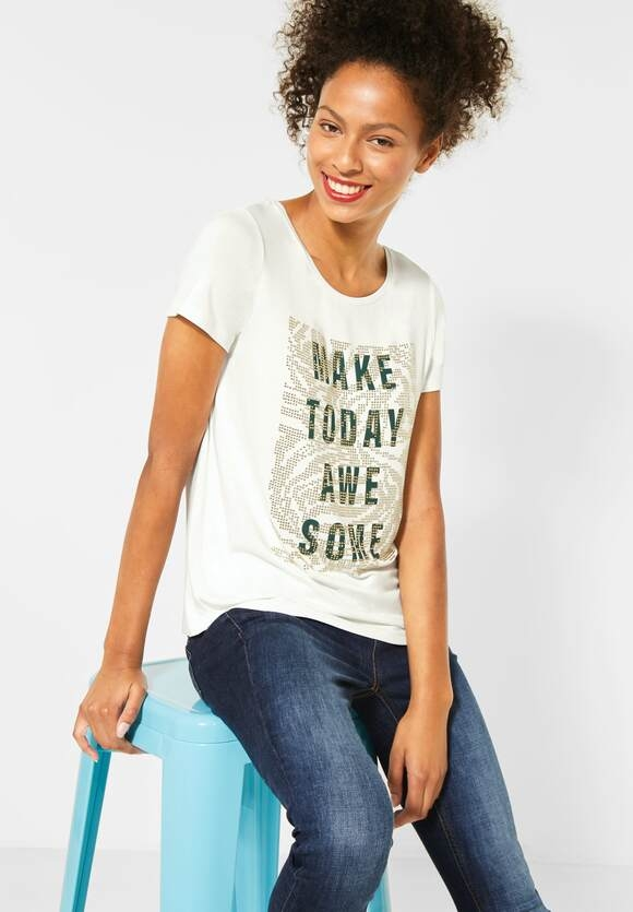 Street One | T-Shirt mit Frontprint | Farbe: off white 30108, 315406