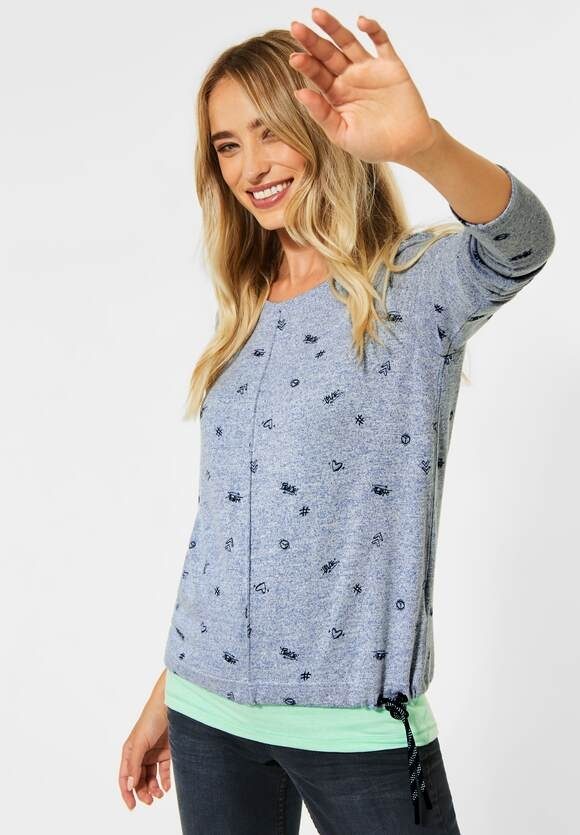 Cecil | Shirt mit Minimal Muster | Farbe: middle blue melange 22581, 315463