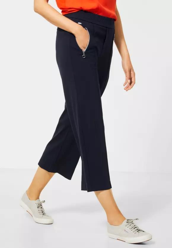 "Street One | Wide Leg Hose ""Emee"" in Unifarbe | Farbe: deep blue 11238, 373069"