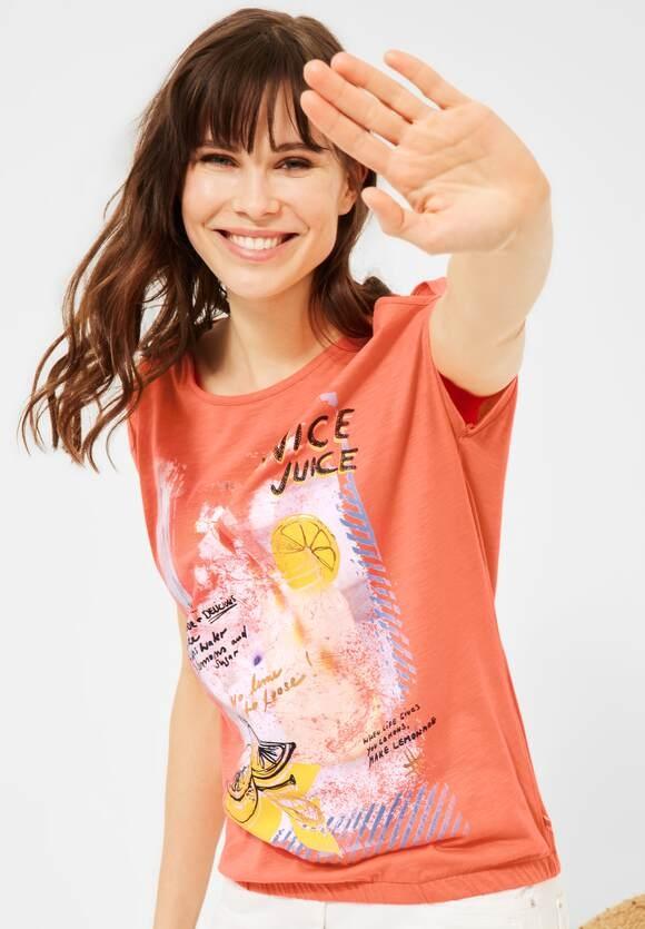 Cecil | T-Shirt mit Print | Farbe: fresh coral 33038, 316345