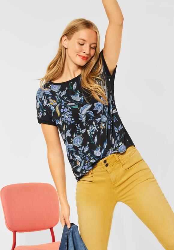 Street One   T-Shirt mit Blumen Print   Farbe: black 30001, 316779