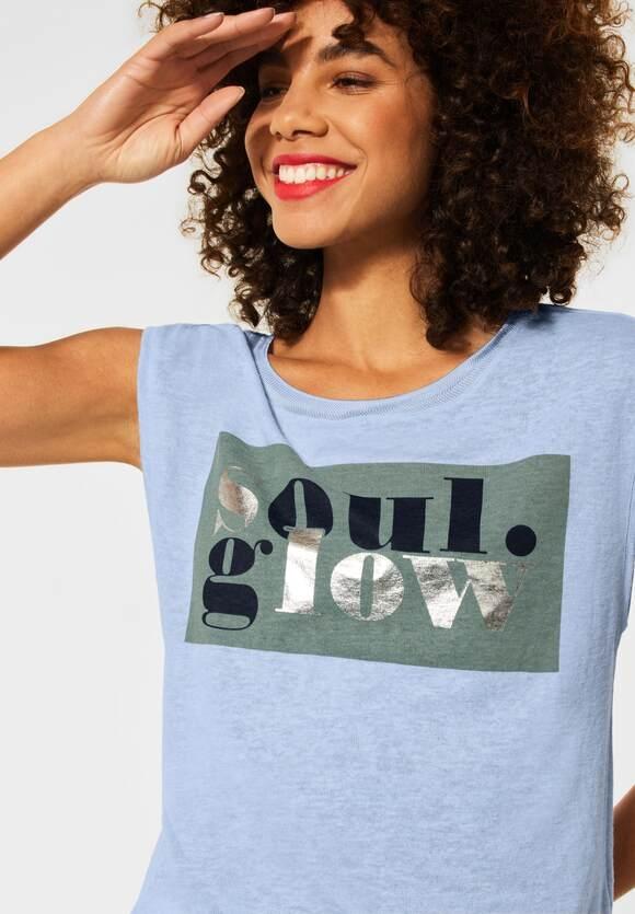 Street One | T-Shirt mit Partprint | Farbe: mid sunny blue mel. 33037, 316261